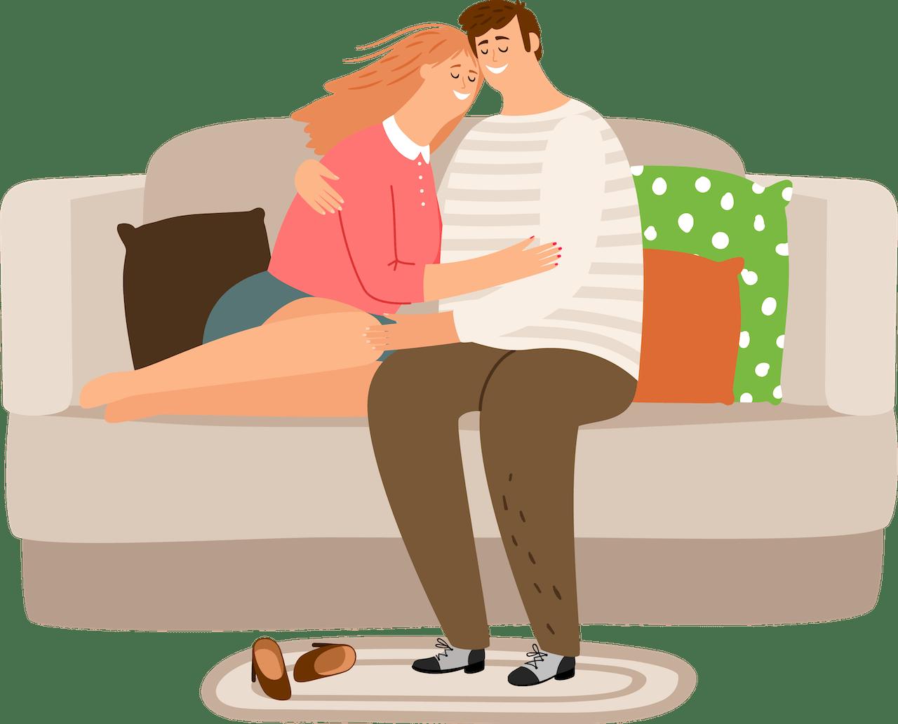 couple - sofa hugging